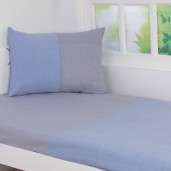 colorblock sheet set-blue/grey-single