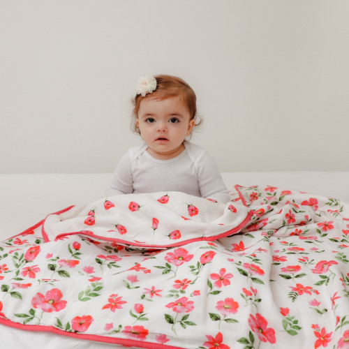 blossoms organic reversible blanket
