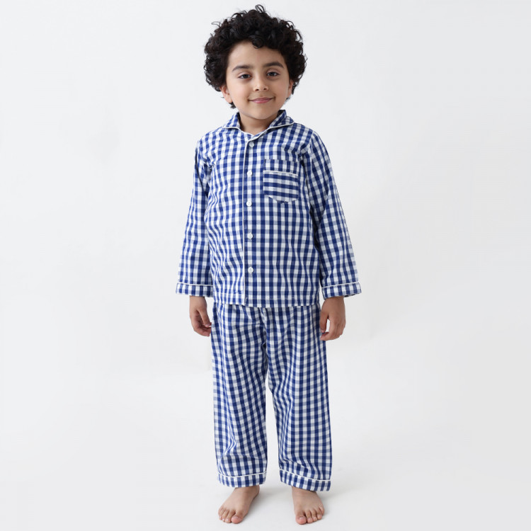 classic navy gingham pajama set